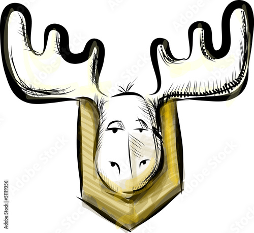 Deer head sketch vector illustration