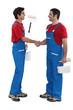 Housepainters handshaking