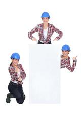 Female builder behind blank message board
