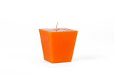 Orange trapezoid candle with a wick poster
