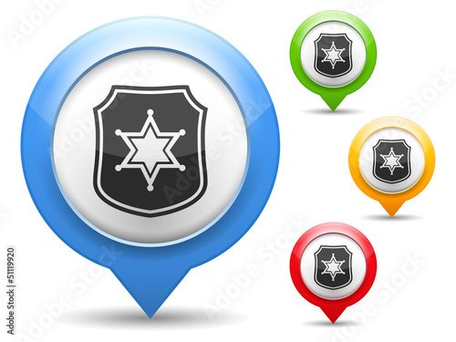 Map marker with icon of a police