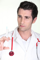 Man with syringe