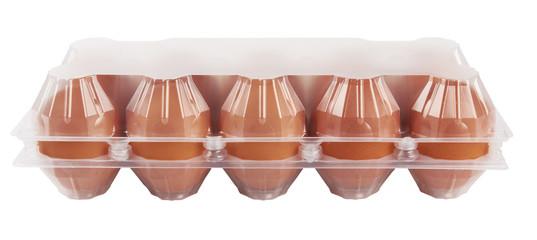 Eggs in plastic