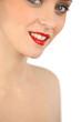 Portrait ob woman wearing red lipstick