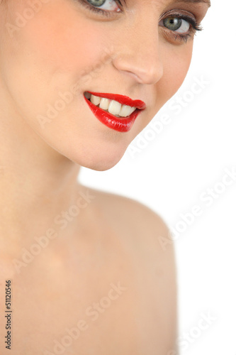 Portrait ob woman wearing red lipstick