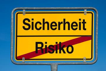 Wechselschild ohne Pfeil RISIKO - SICHERHEIT