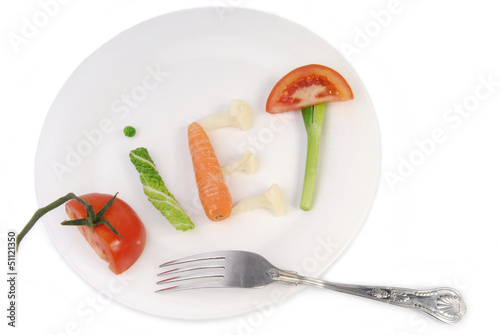 word diet made of vegetables and fruit isolated on white