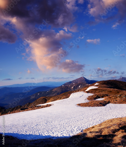 Spring snow in the mountains