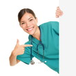Medical sign person - woman showing blank poster