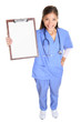 Medical nurse woman or doctor showing clipboard
