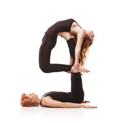 paired yoga on a white background