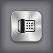 Fax icon - vector metal app button