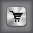 Shop cart icon - vector metal app button