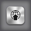 Global icon - vector metal app button