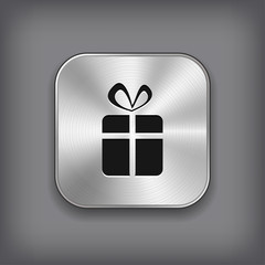 Gift icon - vector metal app button