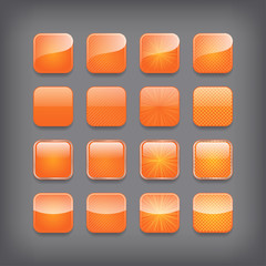 Set of blank orange buttons