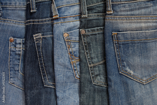 It is a close up of jeans's pile.