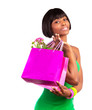 African female with shopping bag