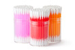 Three plastic box with assorted colors cotton swabs