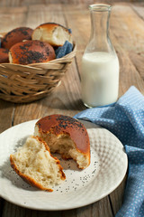 Buns with poppy seeds and milk