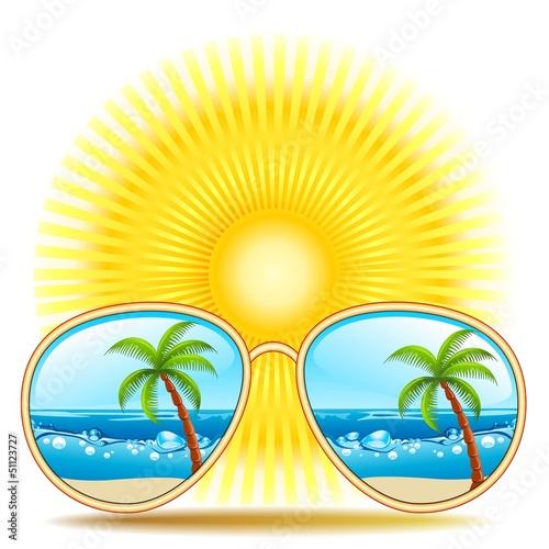 Sunglasses With Palmtree Reflexion-Occhiali da sole ai Tropici