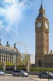The clock tower of London, Big Ben and the London Eye in the bac