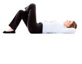 Thoughtful business woman lying down