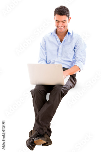 Business man using a laptop