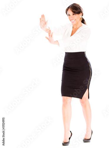 Business woman pushing