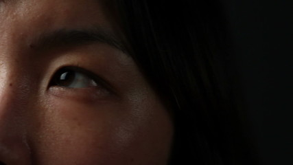 Close up of Korean woman's eyes, looking up