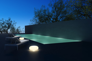 Luxury pool, lounge chaise longue , lounge summer night
