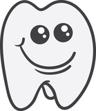 Isolated tooth character smiling face