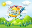 A helicopter with kids