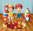 Two boys surrounded with toys