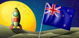 The flag of New Zealand near the moon