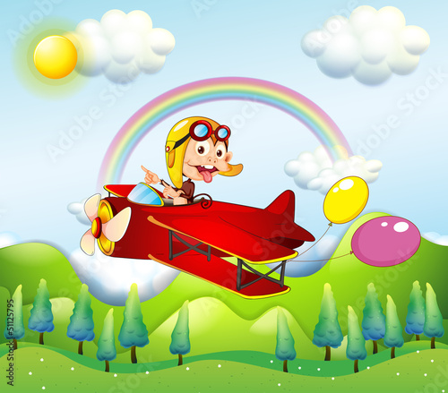 A monkey riding on a red plane with two balloons