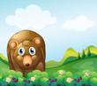 A brown bear at the garden
