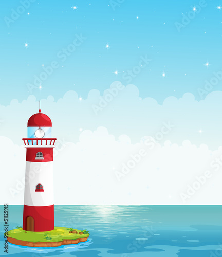 A lighthouse in the middle of the sea