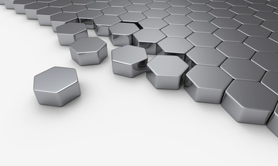 Silber Sechseck Baustein Konzept 2