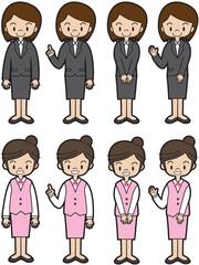 働く人(スーツ、制服の女性)
