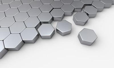 Silber Sechseck Baustein Konzept 3
