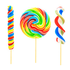 Three unique lollipop candies isolated on white