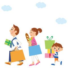家族とショッピング
