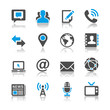 Media and communication icons- reflection theme