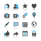 Social network icons - reflection theme