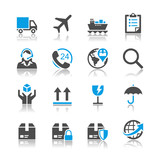 Logistics and shipping icons - reflection theme