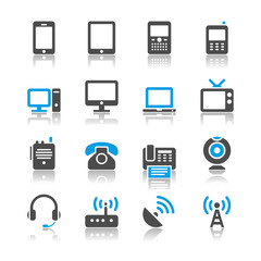 Communication device icons - reflection theme
