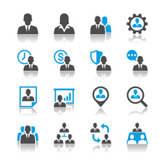 Human resource management icons - reflection theme
