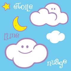 nuage, naïf, enfantin, enfant, livre, ciel,alphabet, mignon