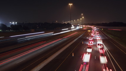401 Highway timelapse. Slow lane on near side. Toronto.